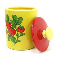 Vintage Ceramic Cookie Jar Strawberry Canister Yellow Red Green