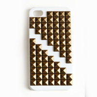 Small White Studded cellphone cover, Hard case, iPhone Cover, cover for Android,trendy, iPhone 4s, iPhone 4,