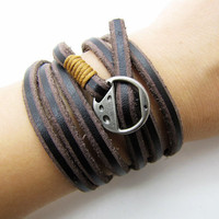 Brown Soft Leather Women Leather Bracelet  with Silvery Alloy Buckle Men Leather Cuff Bracelet Unisex Bracelet  1270A