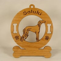 3846 Saluki Standing Personalized Wood Ornament