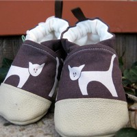 Little City Kitty Cat on Brown Non-Slip Durable Soft Sole Shoes Made to Order