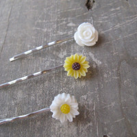 Flower Bobby Pin Set,set of 3 bobby pins,sunflower bobby pin