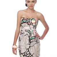 Tropical Print Dress - Strapless Dress - $40.00
