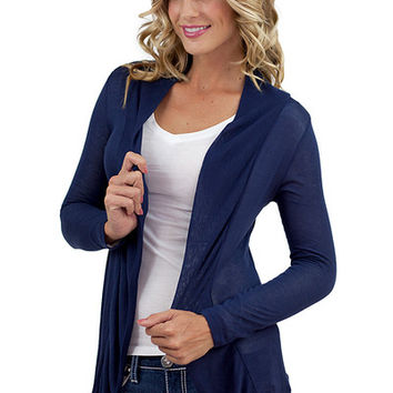 Solid Long Sleeve Open Cardigan Navy - Navy /