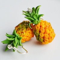 Miniature Pineapple Earrings, Fimo, Polymer Clay