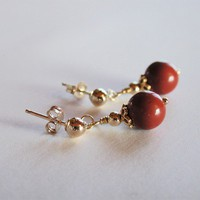 Red Jasper Gemstone Beaded Post Earrings Gold-filled