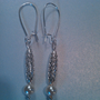 Glass Pearl and Silver Criss Cross Drop Earrings