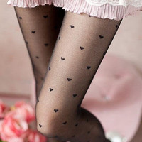 YESSTYLE: SHY SHY- Heart Tights (Black - One Size) - Free International Shipping on orders over $150