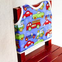 Cars and Trucks Bib, Bear Print, Blue, Red, Green, Baby Boy Bib