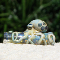 Octopus Dread Bead Blown Fumed Glass, Free U.S. Shipping