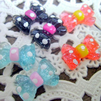 Kawaii Cabochons Bows Multi 6 Pieces