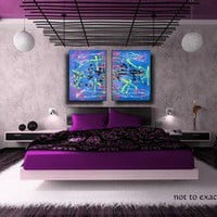 ABSTRACT PAINTINGS Original  ART Blue Yellow Pink Green Silver MODERN ARTWORK