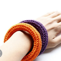 Halloween crochet bangles. Stackable bracelets for this fall, autumn jewelry