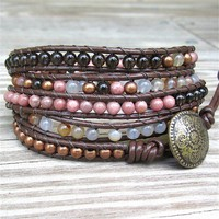 Speakeasy - 5-wrap bracelet brown leather pink brown orange mix beads