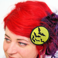 Bats Hair Clip, Yellow Moon and Black Bats Barrette
