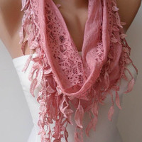 Pink Lace Scarf with Trim Edge - Summer Design