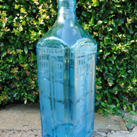 Dr Who Tardis Hand Etched Bottle from a Bombay Sapphire Gin Bottle 1.75 Liters OOAK
