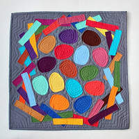 Mini Applique Nest Quilt - Hand Stitched and Colorful Wall Decor
