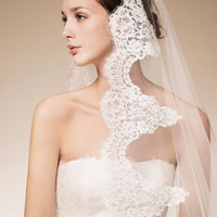 Cathedral lace veil 120'' Bridal Veil with French lace Oval 120'' (3m) Made to order Choose of Ivory or White Other length available