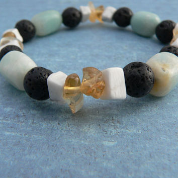Caramel Mint Cookie Chip ~ 7 Inch (17,78 cm) Continuous Bracelet ~ Citrine, Amazonite, Howlite, Lava Rock