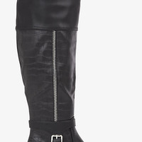 TEXTURED ZIP ACCENT RIDING BOOT from EXPRESS