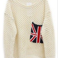 Beige Long Sleeve Union Jack Pocket Open Stitch Jumper - Sheinside.com