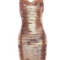 Bqueen Thin Strap Woodgrain Foil Print Dress H168Z4