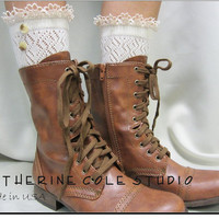 Prairie Girl wash day lace socks for lace up combat boots country 3 colors  great  cowboy boots victorian boots Catherine Cole made in usa