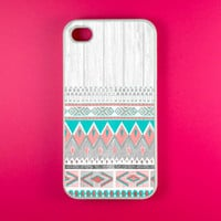 Aztec Iphone 4 Case - Aztec on White Wood Iphone Case, Iphone 4s Case