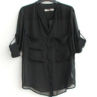 Black V Neck Roll Long Sleeve Two Pockets Chiffon Blouse - Sheinside.com