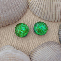 Green Dichroic Post Earrings, Fused Dichroic Glass Stud Post Earrings, Green Dichroic Glass Jewelry - Kelly Green