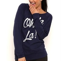 Long Sleeve French Terry Tunic Top with Oh La La Screen