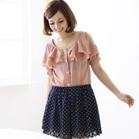 YESSTYLE: A-SO-BI- Cut-Away Shoulder Ruffled Blouse (Dark Pink - One Size) - Free International Shipping on orders over $150