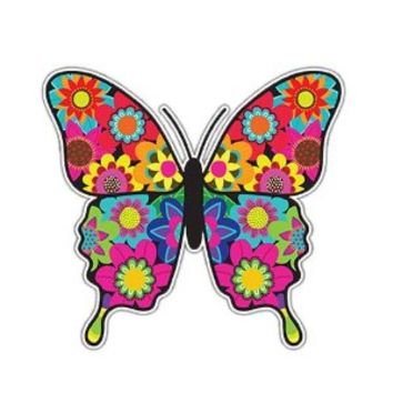 MeganJDesigns Floral Butterfly Car Decal Vinyl Laptop Sticker Multicolor