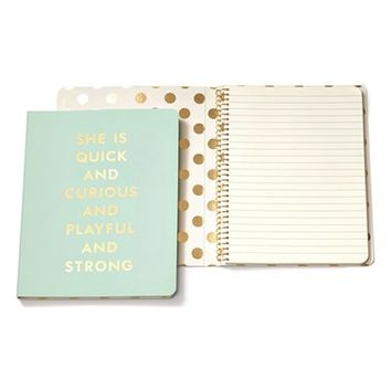 kate spade new york 'she is quick and curious' spiral notebook