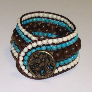 Handmade Retro Style Bracelet Brown, Turquoise, and White from Beaded Bracciale