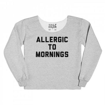 Allergic To Mornings-Unisex Heather Grey T-Shirt