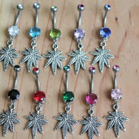 Marijuana Weed Leaf Belly Navel Ring
