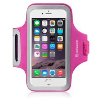 """iPhone 6 Case, Shocksock [Reflective] iPhone 6 Armband, Sports Gym Bike Cycle Jogging Armband with Dual Arm-Size Slots and Key Pocket Custom Made for iPhone 6 (4.7"""") (Hot Pink)"""