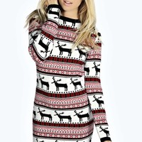 Eliza Multi Reindeer Knitted Jumper Dress