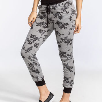 Full Tilt Floral French Terry Womens Jogger Pants Grey Combo  In Sizes