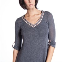 Rolled Sleeve Aztec Trim Collar Sweater - Charcoal
