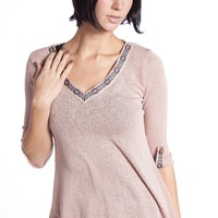 Rolled Sleeve Aztec Trim Collar Sweater - Pink