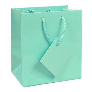 "10 pcs Small Fancy Tiffany Blue Glossy Finish Shopping Paper Gift Sales Tote Bags with Blank Message Tag 4"" x 2.75"" x 4.5"""