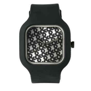 Ampersand Pattern Black and White Watch