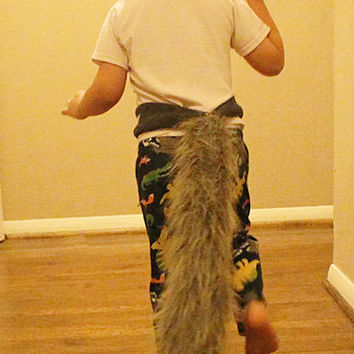 Realistic Grey Wolf Tail Child Sized-- Faux Fur Wolf Costume Tail with Adjustable Fleece Belt... Custom Waist Sizes Available