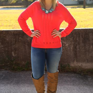 Starts With A Smile Sweater: Neon Coral