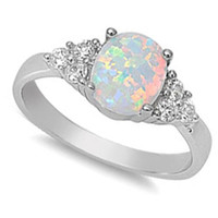 BEST SELLIING! Lab created White Opal & CZ .925 Sterling Silver Ring Size 4-11