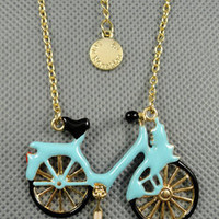unique style necklace bicycle pendant women metal short necklace simple style necklace   XL123
