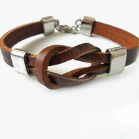 Brown Leather  Woven with Metal Buckle Women Leather Jewelry Bangle Cuff Bracelet 1273A